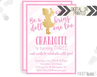 Baby Doll Party Invitation | Digital or Printed | Dolly Invitation | Doll Party | Doll Birthday Party | Dolly Invitations | Pink and Gold