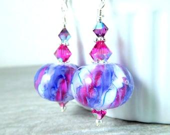 Hot Pink Purple Blue & White Glass Dangle Earrings, Fun Earrings, Bright Colorful Jewelry, Lampwork Earrings, Pastel Earrings, Whimsical