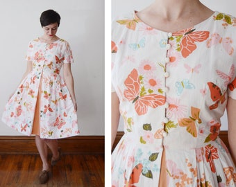 1950s White Butterfly Novelty Print Dress - S