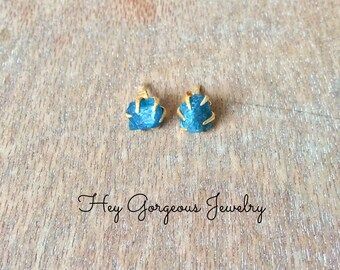 Raw blue apatite nugget studs- gold plated over sterling silver- raw gemstone studs- valentines gift