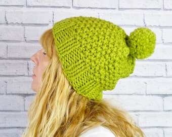 Chunky Knit Wool Bobble Hat - Apple Green, Pom Pom Hat, Hand Knitted Hat READY TO SHIP