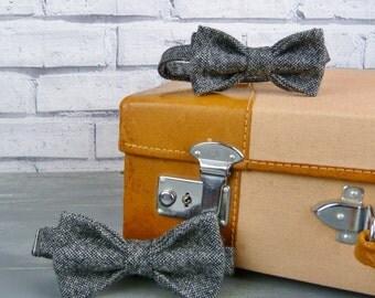 Father and Son Bow Tie Set - Black/Grey Birdseye Yorkshire Tweed