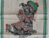 Vintage Mid Century Signed Tom Lamb SCOTTIE Scottish Terrier with Tam O Shanter Hat and Birds on Tail Child's Handkerchief Hankie