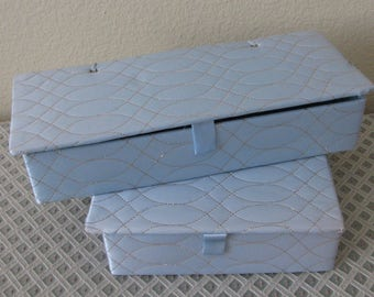 REDUCED/ Vintage Matching Set Baby Blue Quilted Satin Hosiery Glove Scarf Box and Handkerchief Hankie Box