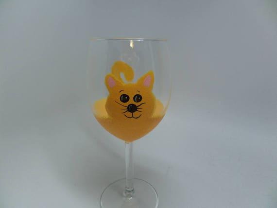 Hand Painted Yellow Cat Wine Glass