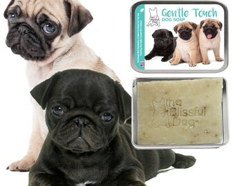 PUG Gentle Touch Dog Soap Handcrafted All Natural Good Soap Unscented for Pug Puppies & Adult Pug Dogs with Sensitive Skin