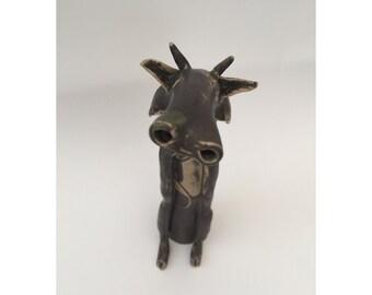 SALE-Ceramic stoneware animal/cow, hand made one off design.