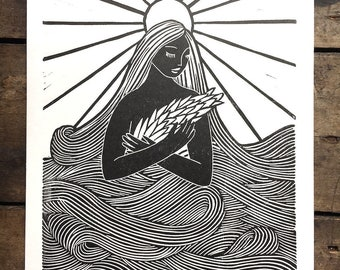 Mni Wiconi Water is Life   Relief print of Water Spirit