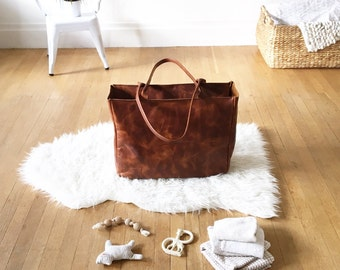 Custom Oversized Distressed Leather Tote/Diaper Bag