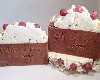 Spiced Cranberry-Handcrafted-Soap-Artisan-Cold Process-Fall Scent-Gift for Her-Natural-Vegan-Abbotsford-BC-Canada