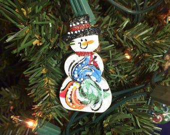 Norwegian rosemaled Snowman pin or magnet