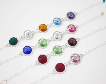 Mother's Bracelet, Mother's Day Gift, Birthstone Crystal Bracelet Choose Your Colors