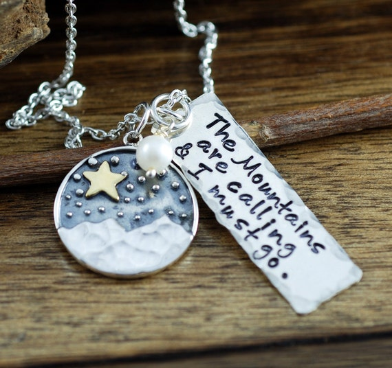 The Mountains are Calling I must Go, Mountain Necklace, Nature Jewelry, Moon and Star Necklace, Adventure Jewelry, Celestial Jewelry