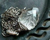 Carved quartz crystal arrowhead wire wrapped necklace - Handmade oxidized sterling silver jewelry