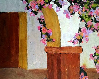Impressionist Painting CALIFORNIA Plein Air MISSION Roses ARCHES Landscape Garden Art  18 x 24 Lynne French