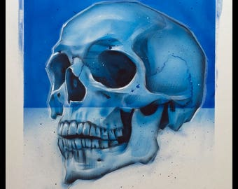 Skull Blue Acrylic Painting Original Art
