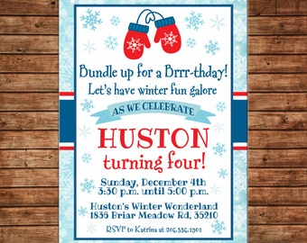 Boy and Girl Mittens Winter Cold Snow Snowflakes Birthday Invitation- DIGITAL FILE