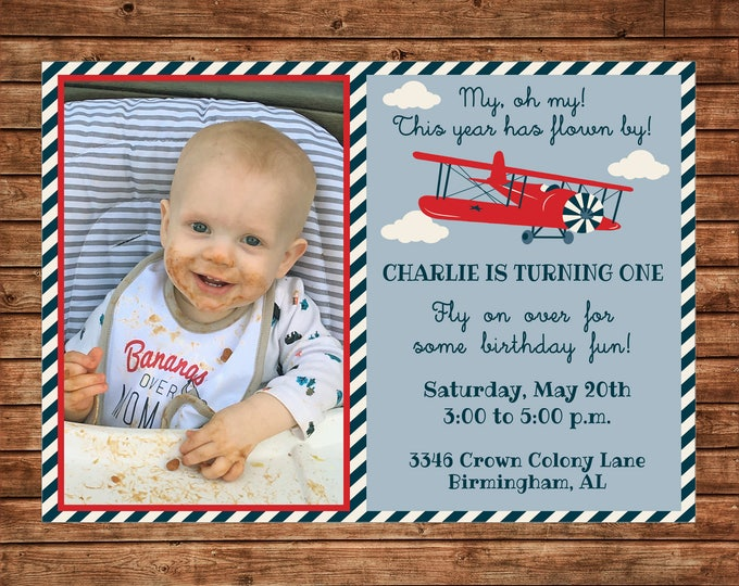 Boy Photo Picture Birthday Party First One Airplane Vintage Antique Plane Invitation Invitation - DIGITAL FILE