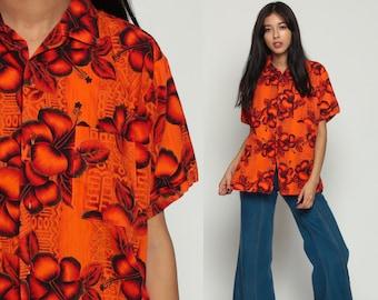Hawaiian Shirt Tropical Shirt 70s Floral Blouse 60s Button Up Shirt HIBISCUS Print 1970s Boho Top Beach Orange Tiki Medium