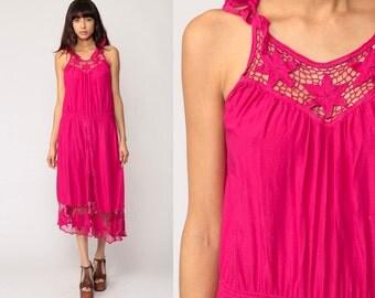 Summer Dress Bohemian Pink Cut Out 70s Boho Mesh Midi BALI Embroidered Floral 80s Cutout Hippie Cutwork Vintage Sun Medium Large