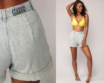 Striped Shorts 80s Jeans Shorts GITANO EXPRESS High Waisted Denim Shorts 90s White Blue Vintage Hipster Retro Cuffed Hotpants Small 27