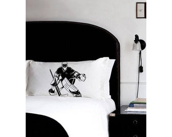 HOCKEY pillowcase Goalie Only fight air box ice field vintage sport retro UNIQUE Gift Black White room decor Standard pillow case New