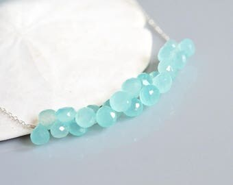 Aqua Blue Chalcedony Cluster Necklace in Sterling Silver - DISCOUNTED PRICE- Lavish Amount of cute gems! - sea foam
