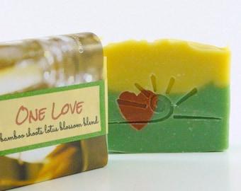 ONE LOVE Handmade Soap Bar /  Bamboo Lotus Blend