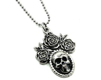 ONLY 2 LEFT! Day of the Dead Necklace with Skull Cameo and Triple Roses on Delicate Ball Chain by Ghostlove