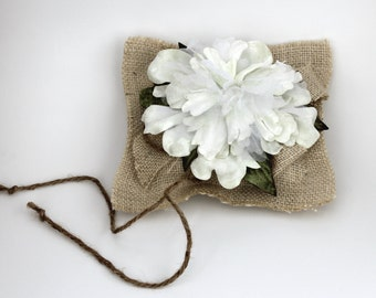 Burlap Ringbearer Pillow with Ivory Flowers