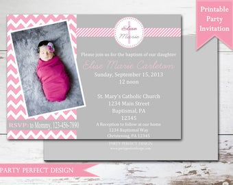 Pink and Gray Chevron Baptism invitation First Communion Announcement - Print Your Own