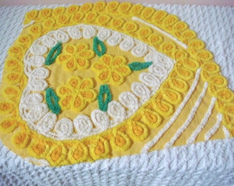 Beautiful Buttercup Yellow Plush Floral Heart Cotton Vintage Chenille Fabric Corner Cut Approx 22 x 25 Inches