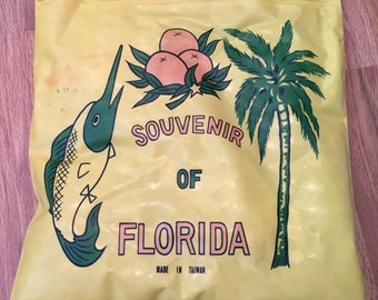 VINTAGE FLORIDA BEACH Bag and Pillow, 1960 Beach Bag, 1960s Pillow, Palm Trees, Sailfish and Oranges at A Vintage Revolution