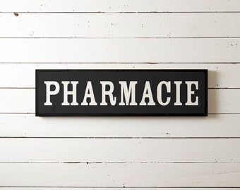 "Wall Sign ""Pharmacie"" | Wall Decor, Farmhouse Decor, Joanna Gaines, Fixer Upper Wall Decor, Living Room Decor, Bathroom Sign, Antique Sign"