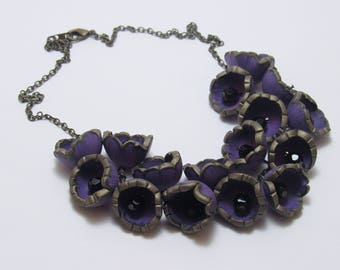 Purple Flower Statement Necklace, Polymer Clay Cane, Bronze Nature Jewelry, Unique Womens Gift