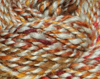 Hand Spun Wool and Alpaca Yarn 65 yards 10-12 wpi Copper Grey