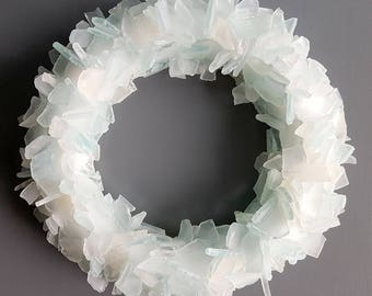 Sea Glass Wreath, Beach House Decor Wreath, Nautical Wall Decor Sea Glass Wreath, Beach Glass Wreath, Seaglass Wreath, Glass Art  - ICE