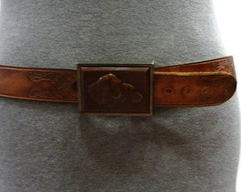 Vintage Tooled Belt Vintage Leather Lucite Dog Buckle Belt Vintage Mens Leather Belts Distressed Leather Belt Western Leather Belts