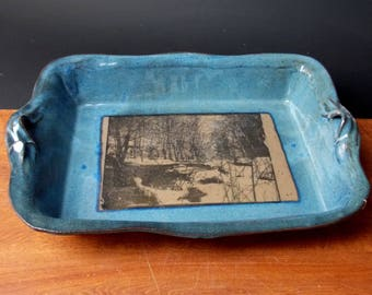 Stoneware Lasagna Baking Dish ~ Woods In Spring Design ~