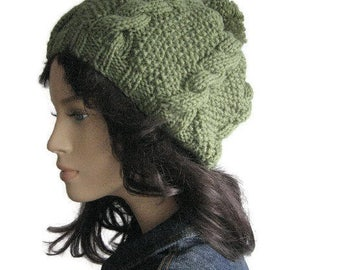 Sage Green Cables and Seed Stitch Hat with Pom Pom, Vegan Yarn Knit Hat, Knit Pom Beanie,Womens Accessories Winter Fashion