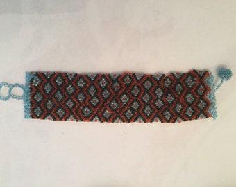 Vintage Native American Wide Beaded Bracelet