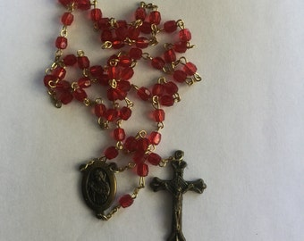 Vintage Red Plastic Rosary Beads Perfect For Valentines Day
