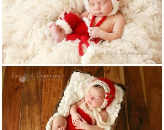 Christmas Santa Claus Pants Romper Bonnet Set Newborn Knit Photo Prop Baby Girl HOLIDAY Mohair Bodysuit Going Home Pixie  Coming Home Outfit