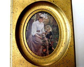 Vintage Victorian Picture Mother Daughter Garden Scene Gold Frame 1950s
