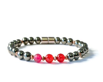 Magnetic Hematite and Fire Agate Bracelet, Therapy/Pain Relief Jewelry