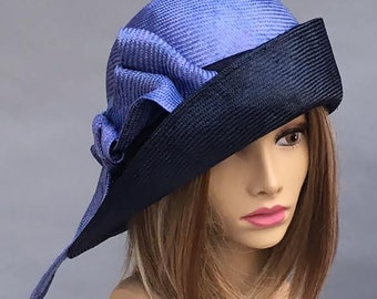 Fiona, beautiful two tone straw hat from the Downton Abbey era, Parasisal straw in Navy and Periwinkle