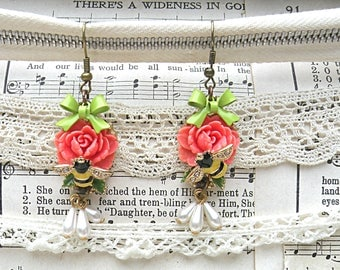 recycled vintage rose earrings assemblage bee shabby chic eco friendly summer garden cottage chic