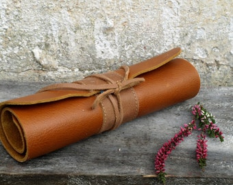 Leather Pencil Roll, archidect pencil case, Pencil Case, Rollup Leather Case, Paintbrush Roll, christmas gift for kids, waldorf pencil roll
