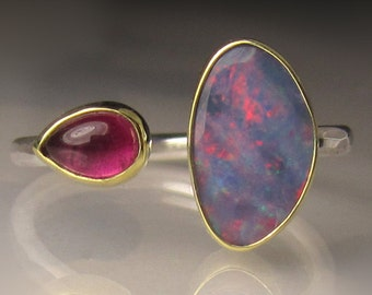 Boulder Opal and Pink Tourmaline Ring - 18k Gold and Sterling Silver - Open Stone Cocktail Ring - sz 7.25