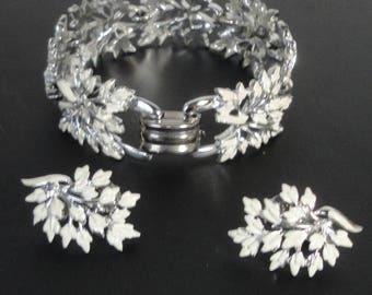Vintage CORO Pegasus Silver tone White Enameled Bracelet and Earrings Set.